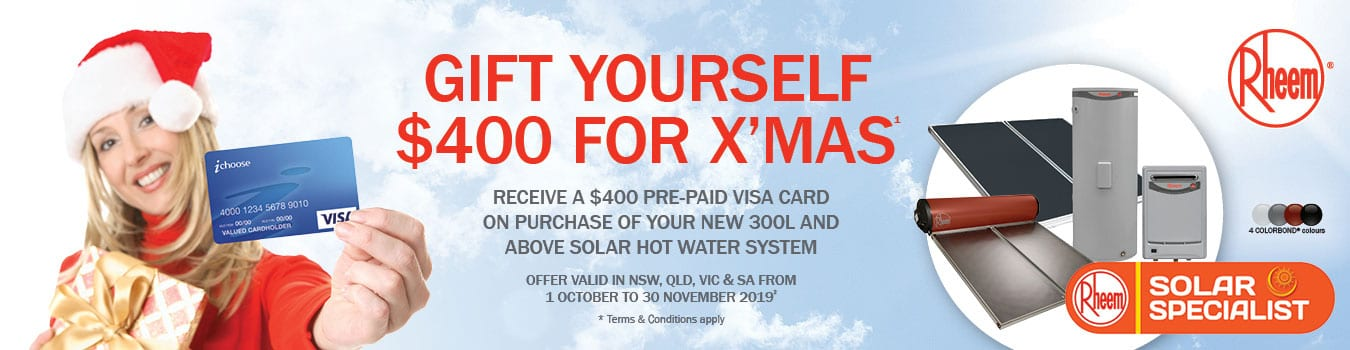 """$400 VISA PRE-PAID CARD OFFER"""" NOTE 1st Oct. to 30th Nov. 2019"""